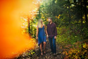 Engagement photos at Lutsen Resort