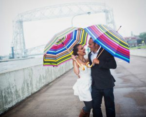 Engagement photos in Canal Park in Duluth, Minnesota