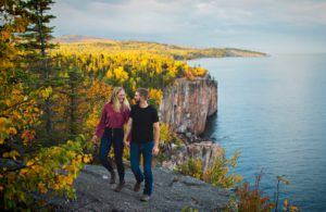 Engagement photos at Palisade Head in Minnesota